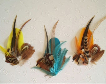Fly Fishing Boutonniere mens wedding boutonnieres Ceremony Pin feather boutineer