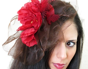 Derby Fascinator red flower fascinator brown crin wedding hat  CARMEN