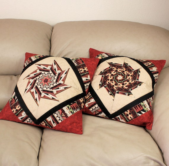 Southwest Decorator Pillow Covers - Set of two, pieced and quilted in tan, brown, black  and geometric border stripe