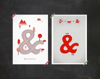 Ampersand love set - hearts red grey infinite infinity romantic Two prints 8 x 11.5