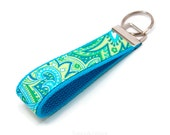 Cute Lime Green & Blue Paisley Keychain - Preppy Fabric and Webbing Key Fob - Fabric Wristlet - Custom Made - Under 10 New Driver Gift