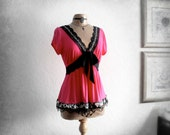 Hot Pink Babydoll Top Boho Chic Clothing Black Lace Leopard Print Empire Waist Shirt Womens Clothes Eco Friendly Altered Couture L 'FLEUR'