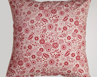 """Throw Pillow Cover, Petit Fleur Tattoo in Red Throw Pillow Cover, Handmade Red Floral Throw Pillow Cover, Decorative Cushion Cover, 16x16"""""""