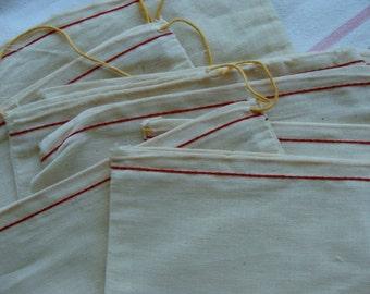 3 Rare Antique Muslin Original Postal Drawstring Bags