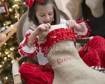 Personalized Burlap Christmas Stocking, Shabby Chic Stocking, Girly Red Ruffles and Burlap Flower Detail, Personalized Burlap Stocking