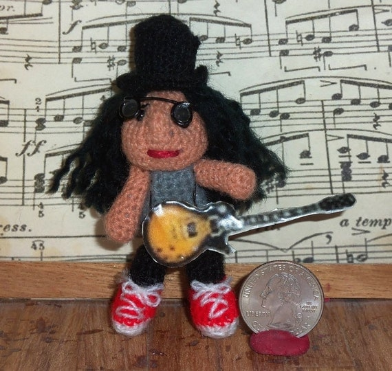 Slash Miniature Doll Thread Artist Crochet Guns n Roses Ready to Ship
