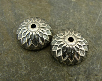 Vintage Acorn Sterling Silver 12mm Bead Caps - One Pair - bcva