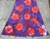 Red Spots N Dots on Purple Tie Dye MidCalf Tank Dress (Dharma Trading Co. Size XL) (One of a Kind)