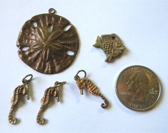 Artist Created One Bronze  Fish Charms, Antique Copper Sand Dollar Pendant, 3 Sea Horse Seahorse Charms Pendants, Ocean Sea Life, Water