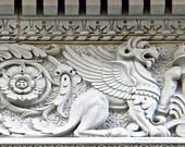 Black & White Art, Building Detail Wall Decor, Architectural Art, Winged Lion Print, Washington DC Photography, Classic Architecture
