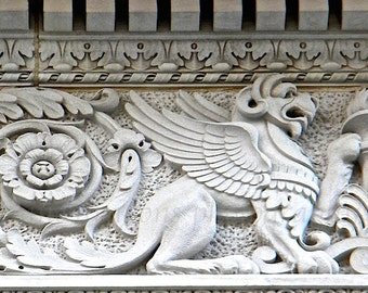 Gryphon Black White Photography, Building Detail Architectural Art,Winged Lion Print,Washington DC Photography,Griffin Print,Black White Art