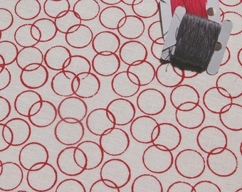 circles - hand screen printed fabric panel in raspberry on linen or cotton