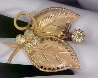 Stunning Amber Rhinestones & Ornate Gilt Gold Brooch