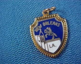 New Orleans Louisiana Cobalt & Gold Plate Charm