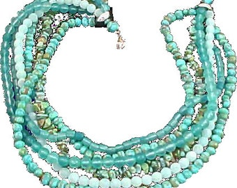 NATIVE AMERICAN ~Genuine  TURQUOISE ~ 6 Strand Necklace