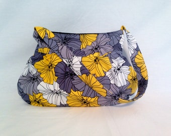 Pleated Hobo Bag in Yellow, Black, Gray and White Florals-MEDIUM