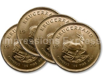 Krugerrand Gold Coin Coasters - Set of 4