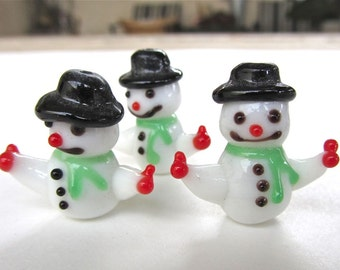 Christmas holiday winter snowman lampwork glass beads Four 4 beads Adorable