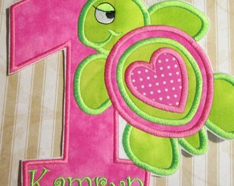 Iron On Applique  - Summer Turtle Birthday For Boys and Girls
