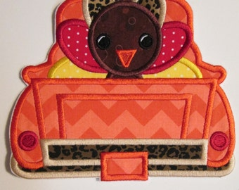 Iron On Applique -  Girl or Boy Turkey Truck