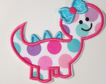 Girl Dinosaur - Iron On or Sew On Embroidered Applique SKU 88898790