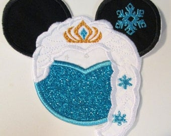 Iron On Applique - Freezing Snow Queen Mouse Head