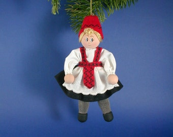 Norwegian Girl Clothespin Doll Ornament/Norwegian Heritage Ornament/Hardanger Like Accents on Norway Ornament