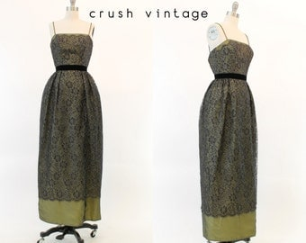 50s Dress Lace XXS / 1950s Vintage Dress Gown / San Sebastian Party Column Gown