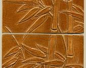 "Asian style Windblown Bamboo Tiles   Set of 2 Tiles  12"" x 6"" in Burnt Orange Glaze"