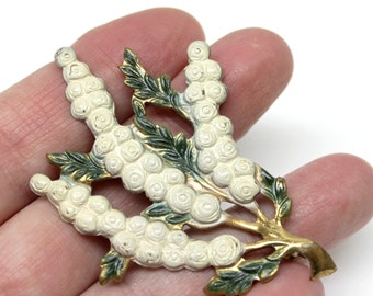 Vintage white blossoming, flowers, branches brooch gold tone metal
