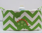 Personalized Diaper Caddy - APPLIQUED Dinosaur Fabric Basket Storage - Custom Design - Diaper Bag -Baby Gift -Nursery Decor - Chevron Zigzag
