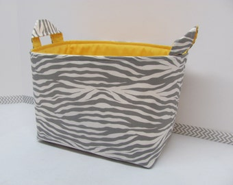 LARGE Fabric Organizer Basket Storage Container Bin Bucket Bag Diaper Holder Home Decor- Size Large - Zebra Grey