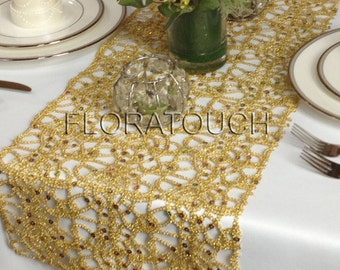 Gold Metallic Lace Sequin Table Runner Wedding Table Runner