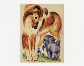 Adorable Vintage Fluff the Kitten and Collie Dog Print