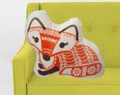 Girl Fox Pillow- screen printed plush