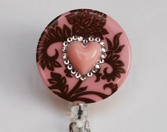 Soft Pink Heart On Damask ID Badge Reel - RN ID Badge Holder - Zipperedheart