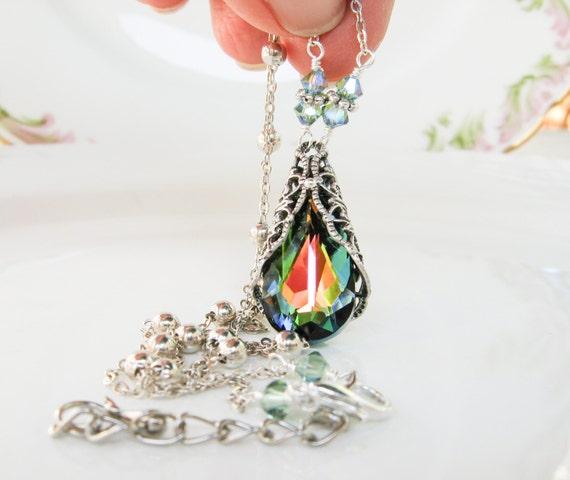 New Swarovski Vitrail Medium Crystal Antique Silver Vintaj Filigree Teardrop Pendant Necklace