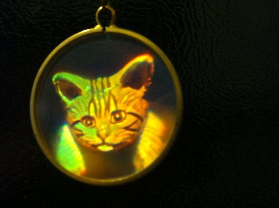 Hologram Pendant Cat Portrait 3 D