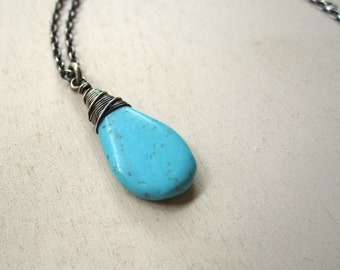 Wired up turquoise pendant drop necklace
