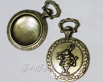 5 pieces - Pocket watch shaped frames (Antique Bronze)  Inner size: 33mm