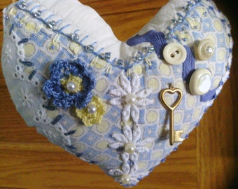 Country Blue Heart Crazy Quilt Pillow