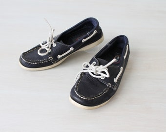 Boat Shoes / Womens / Navy / Leather / Allen and Polly / Size 7