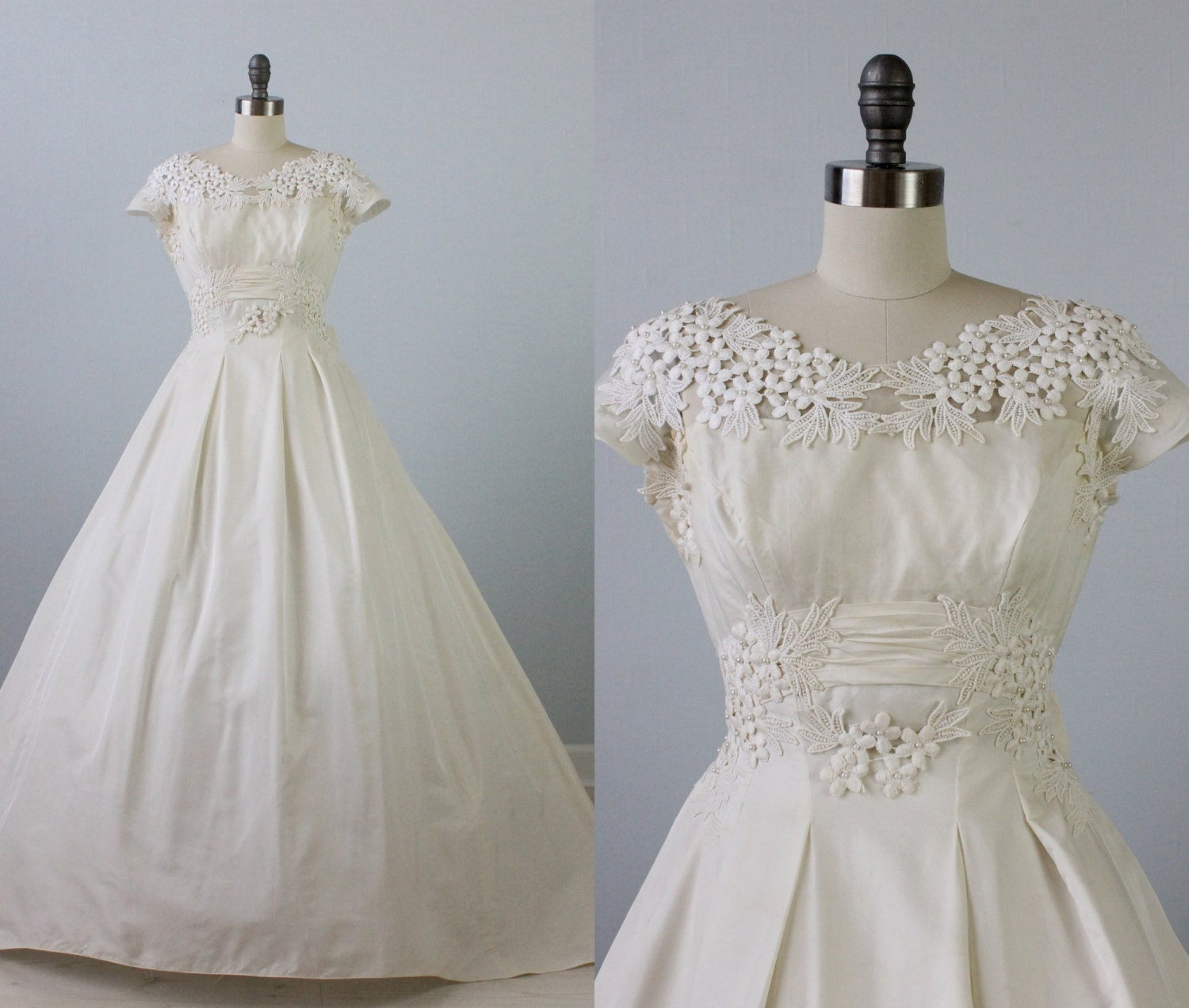 1950s Wedding Dress / 1950s Lace Wedding Gown / Short Sleeve