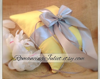 Romantic Satin Elite Ring Bearer Pillow...You Choose the Colors...Buy One Get One Half Off...shown in canary yellow/silver gray