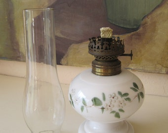 Miniature Oil Kerosene Oil Lamp Nellie Bly D and Co Hand Painted Floral on Milk Glass 1800's