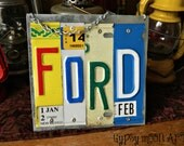 License Plate Sign.  FORD Recycled Art Metal Pub Sign Eco Friendly Gift