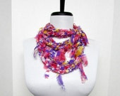 GladRagz Circle of Chains Necklace Scarf in Purple, Yellow, Pink, White Chiffon Ready to Ship Infinity Circle Shredded Knotted Crochet Scarf