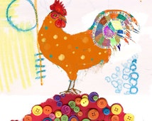 Rooster on Button Mountain - mixed media illustration