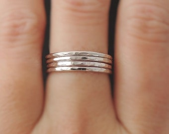 4 Sterling Silver Rings 16 gauge set of four hammered stacking rings . choose your size