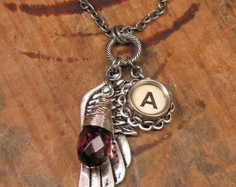 "Typewriter Key Jewelry - Angel Wing / Memories Necklace - FEBRUARY Birthday - White Initial ""A"" Typewriter Key - Amethyst Teardrop Crystal"